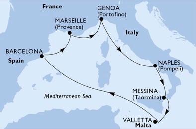itinerar-Genova-Napulj-Messina-Valletta-Barcelona-Marseille-Genova