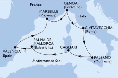 itinerar_Genova-Civitavecchia-Palermo-Cagliari-Palma-Valencia-Marseille_krstarenja_maremonti