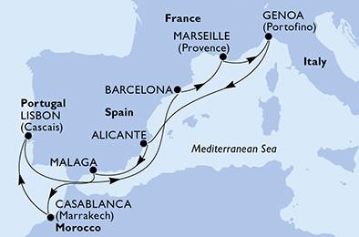 itinerar Genova - Alicante - Malaga - Casablanca - Lisabon - Barcelona - Marseille