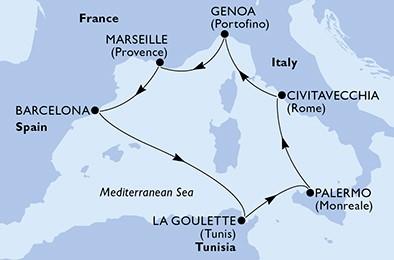 itinerar Genova - Marseille - Barcelona - La Goulette - Palermo - Civitavecchia