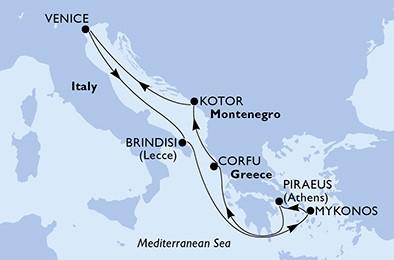 itinerar Venecija-Brindisi-Mykonos-Pirej-Krf-Kotor_MSC