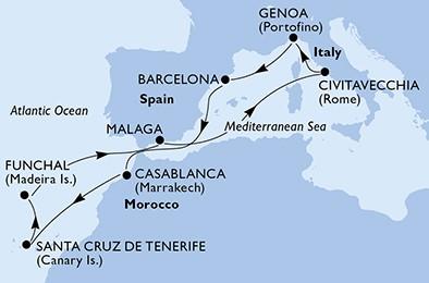 itinerar ZM do Maroka, Kanara i Madeire