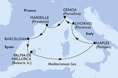 itinerar Zapadni Mediteran MSC Seaside
